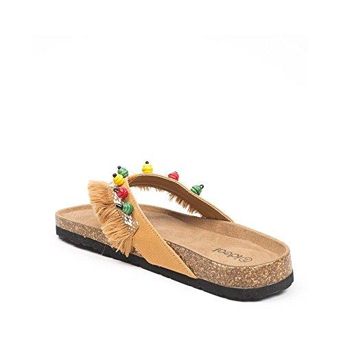 Ideal Pieds Nu Adixia à Franges Camel Shoes rwgEBw