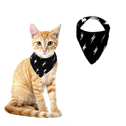 Stock Show 1PC Adjustable Dog Cat Bandana Lightning Pattern Printed Triangle Bib Scarf Collar Necktie Accessory Halloween Costume Bandana Photo Props for Dog Cat Puppy Breeds, Black, -