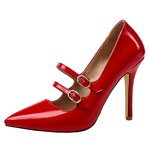 SJJH Sexy Court Shoes with Pointed Toe and Stiletto Working Shoes for Office Ladies Red 69d3lEsWH