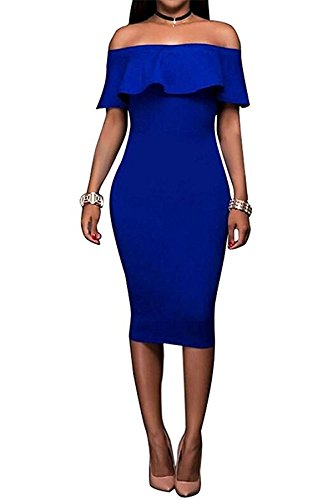 Luyic Women's Off Shoulder Ruffles Fitted Club Cocktail Party Bodycon Midi Dress M Royal Blue (Dresses For Women Blue Cocktail)