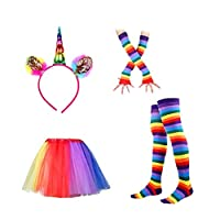 LUOEM Unicorn Headband Rainbow Tutu Skirt with Striped Thigh High Socks and Long Gloves Adult Unicorn Cosplay Costume Set