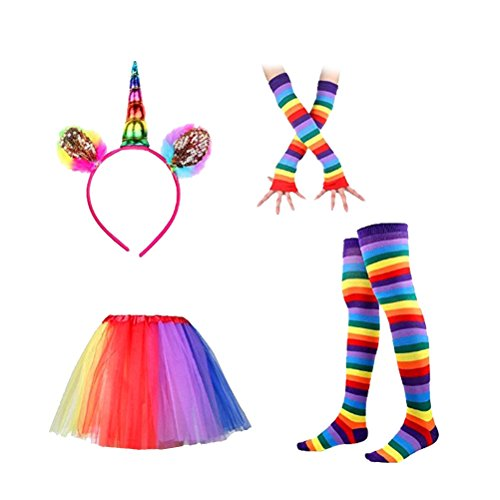 LUOEM Unicorn Headband Rainbow Tutu Skirt with Striped Thigh High Socks and Long Gloves Adult Unicorn Cosplay Costume Set -