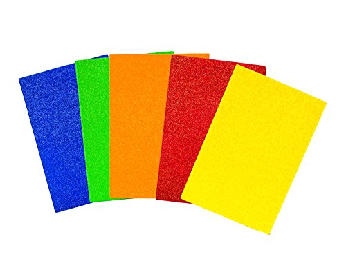 Creative Hands by Fibre-Craft Glitter Foam Sheets 5-1/2-Inch by 8-1/2-Inch, 15/Pkg, Primary Colors - Fibre Craft Glitter Foam