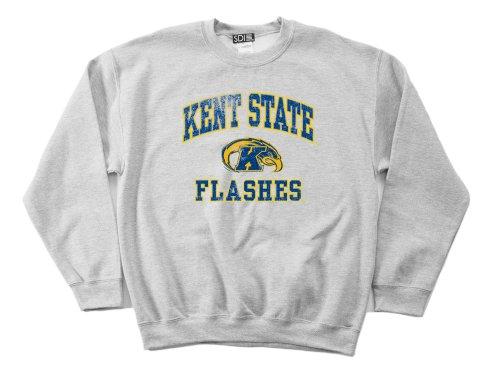 NCAA Kent State Golden Flashes 50/50 Blended 8-Ounce Vintage Mascot Crewneck Sweatshirt, Large, Sport Grey