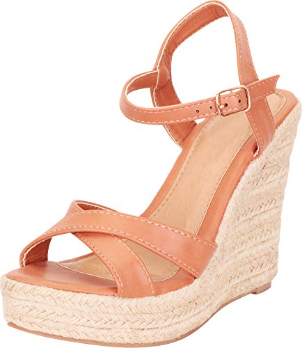 - Cambridge Select Women's Crisscross Strappy Chunky Espadrille Platform High Wedge Sandal,8 B(M) US,Cognac PU