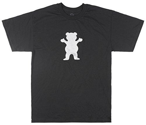 (Grizzly Griptape OG Bear T-Shirt Black Silver Skateboard TOP Mens)
