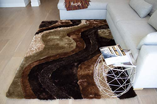 LA Rug Linens Indoor Home Office Living Room Bedroom 8×10 Feet Area Rug Carpet Rug 8 x 10 Feet Brown Beige Colors Shag Shaggy 3D Plush Hand Woven Modern Contemporary Decorative Designer