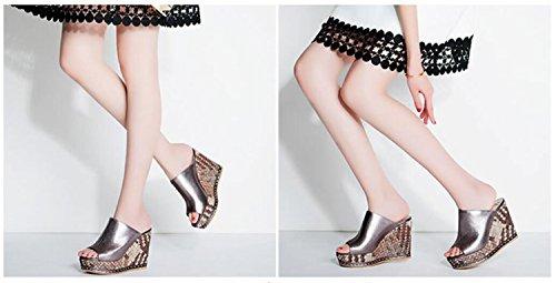 Zapatos Gruesas roja Sandalias Casuales Tacones Moda de 39 Sandalias Plata 34 Pendientes Zapatos caseros perezosas DANDANJIE Mujer Altos Zapatillas de Compras Plata 08an7HH