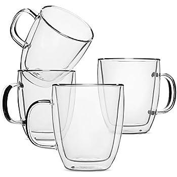 BTäT- Insulated Coffee Mug, Coffee Glass, Set of 4 (16oz, 500ml), Double Wall Glass Coffee Cups, Tea Cups, Latte Cups, Glass Coffee Mug, Beer Glasses, Latte Mug, Clear Mugs, Glass Cups, Glass Tea Mugs