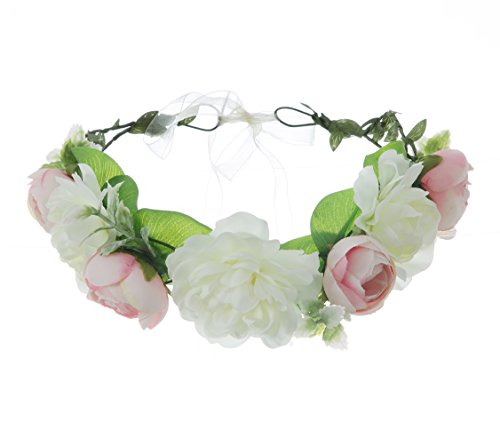 UUPP Bridal Flower Headband Artificial Flower Crown Wreath Headpiece with Adjustable Ribbon for Wedding Festivals, Style (Stunning Silk Dress)