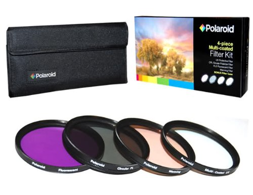 Polaroid Optics 67mm 4 Piece Filter Set (UV, CPL, FLD, - Polaroid Lens