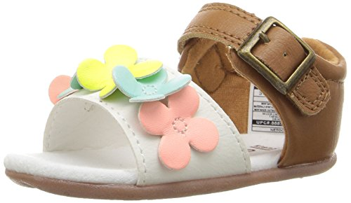 Carter's Every Step Stage 2 Girl's Standing Shoe, Glaze, White/Brown, 5 M US Toddler