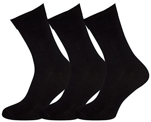 De Familia Mens Socks Crew Dress Cotton Black & Striped Colored Made in Europe 3 Pack Socks Men