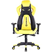 PC Gaming Computer Chair Yellow, SimLife Large Size Executive High Back Leather Office Desk Chair, Racing Style Reclining Lock Video Game Chair with Height Adjustable