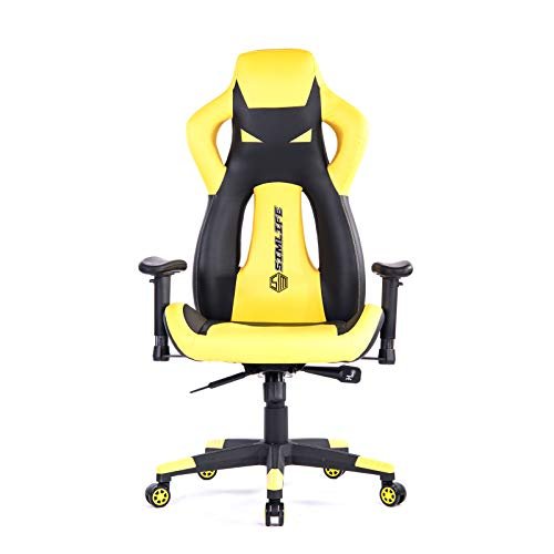 PC Gaming Computer Chairs Yellow for Adults, SimLife Large Size Executive High Back Leather Office Desk Chair, Racing Style Reclining Lock Video Game Chair with Height Adjustable