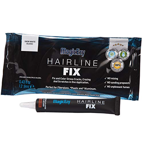 (MagicEzy Hairline Fix - Boat Gelcoat Crack Repair - Fills and Colors Fast - Snow White)