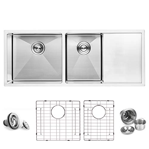 "BAI 1255-45"" Handmade Stainless Steel Kitchen Sink Double Bowl With Drainboard Under Mount 16 Gauge"
