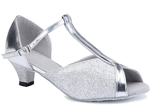 TDA Women's Classic T-Strap Comfort Low Heel Glitter Silver Synthetic Ballroom Latin Modern Dance Shoes 9 M US by TDA