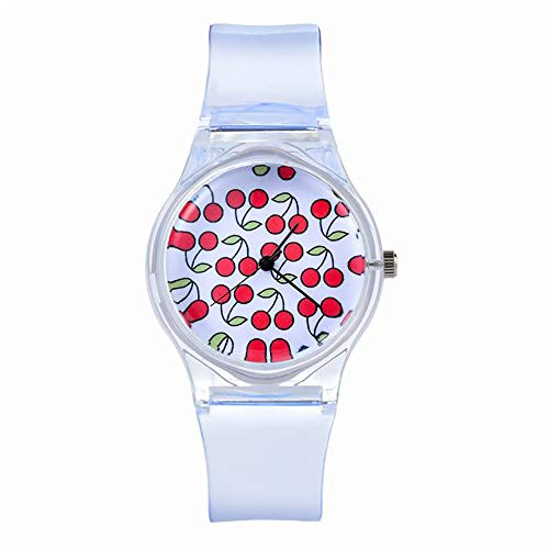 Souarts Clear Silicone Multicolor Rainbow Dial Wristwatch Quartz Round Watch (Red)