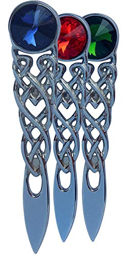 AAR Scottish Celtic Knot Stone Kilt Pin Chrome Finish (Red, Blue, Green) (Blue)