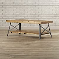Laguna Coffee Table Solid Wood Top with Shelves - Natural