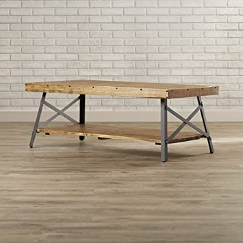 Laguna Coffee Table Solid Wood Top With Shelves   Natural