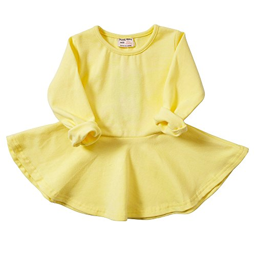 Yellow Ruffle (Infant Toddler Baby Girls Dress Pink Ruffle Long Sleeves Cotton (3-4Year(4T), Yellow))