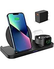KKM Wireless Charger, 3 in1 Fast Wireless Charging Station for Apple Watch Series 7/6/5/4/3/2/1, AirPods Pro, 10W Charger Stand Compatible with iPhone 13/13 Pro/13 Pro Max/13 Mini/12/12 Pro Max/X/8 Plus