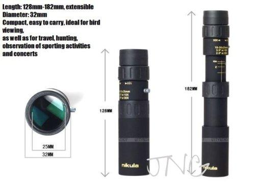 Black by Nikula Nikula Mini 10-30x25 Zoom Optical Monocular Telescope for Outdoor Camping Travel
