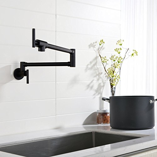 Pot Filler Double Joint Spout Folding Stretchable Swing Arm Wall Mounted Brass Kitchen Faucet, Single Hole Two Handle Kitchen Sink Faucet Matte Black,PHASAT,71211B by PHASAT (Image #2)