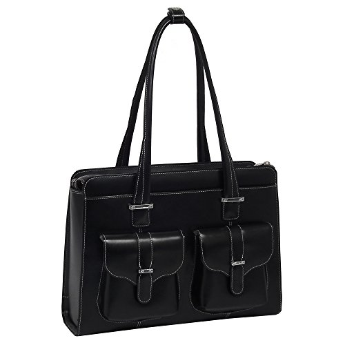 McKleinUSA Alexis [Personalized Initials Embossing] 14'' Leather Ladies' Laptop Briefcase in Black by McKlein