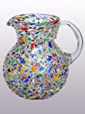 Mexican Blown Glass Pitcher Confetti Rocks