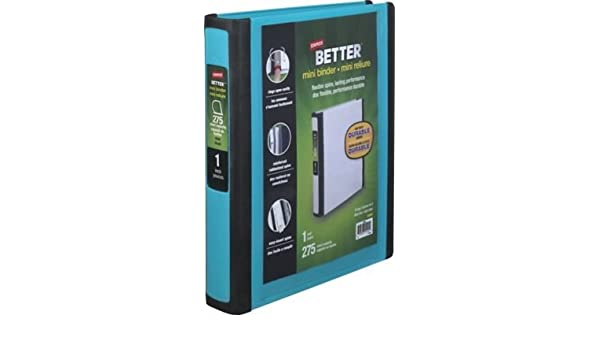 Staples Better Mini 1 Inch D 3 Ring View Binders Teal