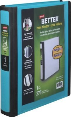amazon com staples better mini 1 inch d 3 ring view binders teal