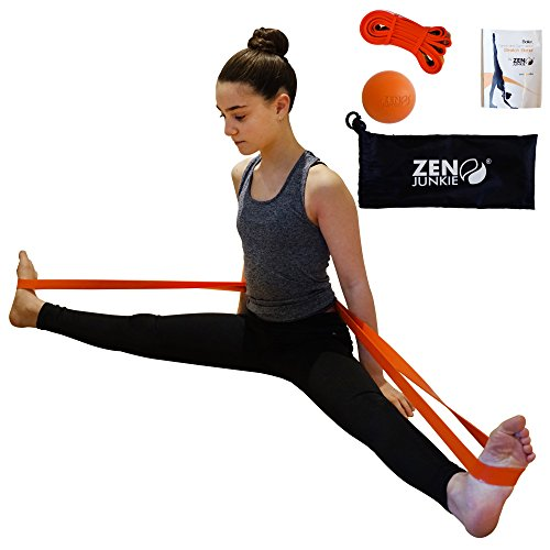 DANCE Stretch Band by Zen Junkie -Including Stylish Carry Bag & Ball For Massage. Ballet, Dance & Gymnastics Exercise Band. Premium Stretching Strap . .Ideal Dance Accessory.