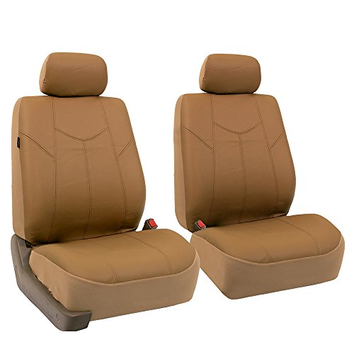 - FH Group PU009102 Rome PU Leather Pair Set Car Seat Covers, Airbag compatible, Solid Tan - Fit Most Car, Truck, Suv, or Van