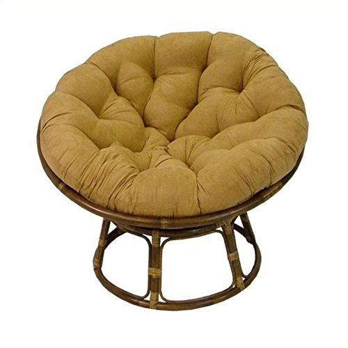 International Caravan 3312-MS-IN-IC Furniture Piece Rattan 42-Inch Papasan Chair with Micro Suede Cushion
