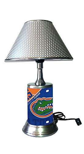 Rico Table Lamp with Chrome Colored Shade, Florida Gators Plate Rolled in on The lamp Base