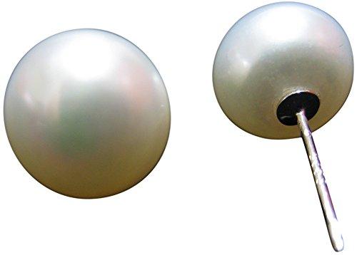 Helan Women's 13-14mm Button Freshwater Pearl Earring Sterling Stud ()
