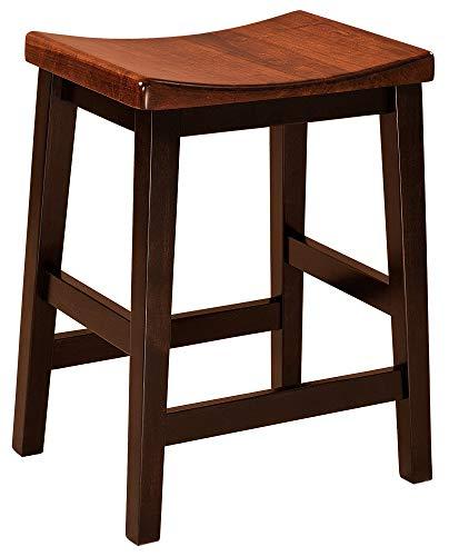 Amish Maple Bar Stool - Set (2) Amish Solid Wood Saddle Bar Stools 24