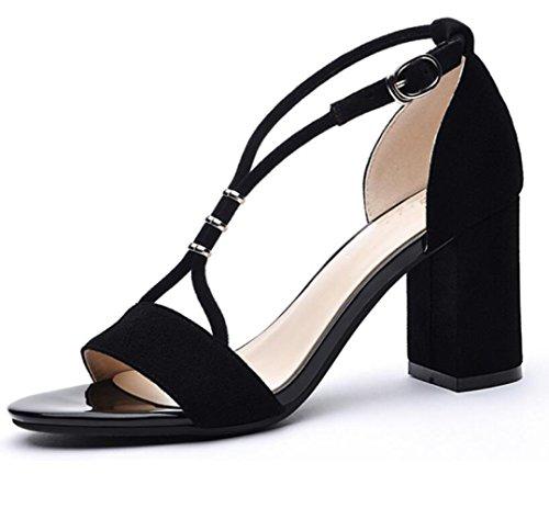 Zapatos Zapatos Estudiante Grueso La De Mujer De El De De Boca Causales MUYII Pescado Con Tacones Para Verano Black Coreanos Zapatos Sandalias Tacón De Nuevos Altos Con 1pdnAw