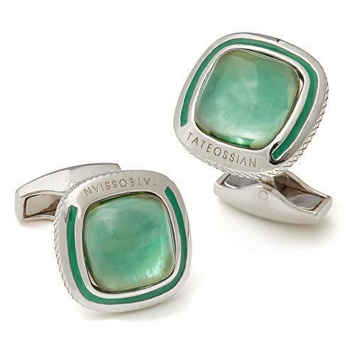 - Tateossian Translucent Quartz and Sterling Silver Cufflinks, Green