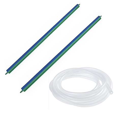 Saim Fish Tank Air Bubble 2-Piece Air Stone Bars, 18-Inch, Green/Blue&20Ft Airline Tubing Clear by Saim