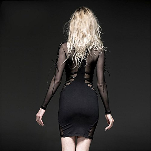 knielangen en Mesh Fitting Rock 2 Sexy Langarm Gr Gothic Damen Slim Kleid High Collar Kleid S0wpxqg