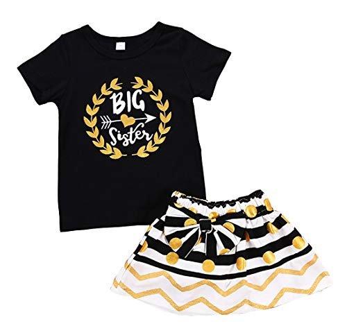 Newborn Little Sister Baby Little Girls Skirts Leggings Pants Gifts Outfits Set (Black-Big Sister, 5-6 Years)