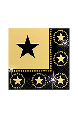 Amscan Star Studded Hollywood Themed Party Lunch Napkins (16 Piece), Black/Gold, 6.5 x -