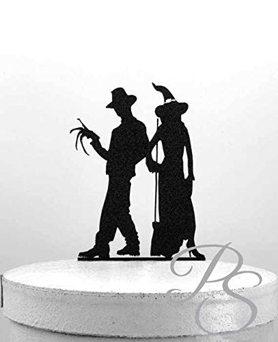 Wedding Cake Topper - Halloween Wedding Cake Topper, freddy krueger and a witch Silhouette Wedding Cake Topper]()