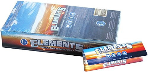 Elements 1 25 1 1/4 Size Ultra Thin Rice Rolling Paper With Magnetic  Closure Full Box Of 25