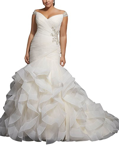Cap Beaded Cap Sleeve (DreHouse Women's Beaded Cap Sleeves Pleats Mermaid Wedding Dresses Plus Size)