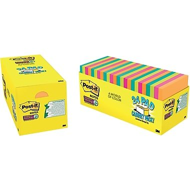 Post-it Super Sticky Notes, 3 in x 3 in, 24 Pads, 70 Sheets/Pad, Cabinet Pack, Assorted Colors